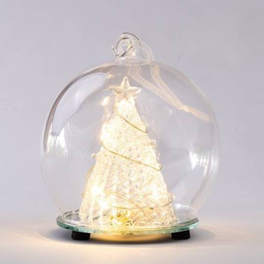 Glass Ball Clear, LED Tree Scene 10cm
